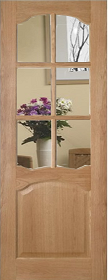 Oak Louis with Clear Bevelled Edge Glass - Unfinished - DE
