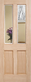 Oak Richmond with Clear Bevelled Glass - Unfinished - DF