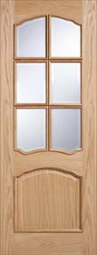 Oak Riviera RM2S  - Clear Bevelled Glass - Unfinished - LP