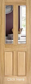 Oak Richmond with Raised Mouldings 2 Sides (RM2S) - Clear Bevelled Glass - Unfinished - LPD
