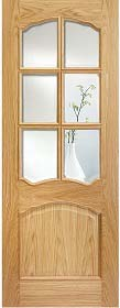 Oak Riviera 6L RM2S with Clear Bevelled Glass  - Pre Finished - Raised Mouldings - LP