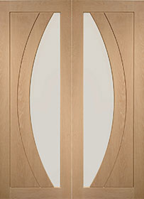Oak Salerno Pair with Clear Glass - Unfinished - X