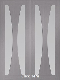 Light Grey Verona Rebated Door Pair with Clear Glass - Pre-Finished - XL