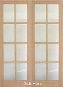 Oak 8L - Clear Bevelled Glass - Rebated Pair  - Unfinished - DG