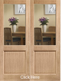 Oak 2XG Rebated Pair - Clear Bevelled Glass - Unfinished - DF