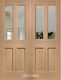 Oak Malton Rebated Pair with Clear Bevelled Glass - Unfinished - XL