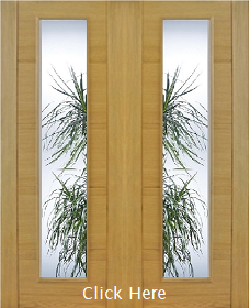 Oak Trend Style Pair - Clear Diamond Cut Glass - Channel Groove - Prefinished - DF