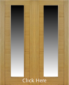 Oak Trend Pair with Obscure Glass - Channel Groove - Prefinished - DF