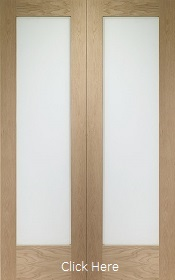 Oak Pattern 10 Rebated Door Pair - Obscure Glass - Unfinished - XL