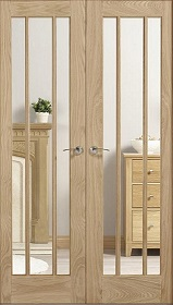 Oak Lincoln Rebated Pair with Clear Glass - Unfinished -  LP
