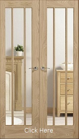 Oak Lincoln Rebated Pair with Clear Toughened Glass - Unfinished -  LP