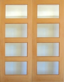 Oak Patt 50 Mersey - Rebated -  Clear Bevelled Glass - Unfinished - DF