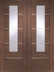 Walnut Portici Pair with Clear Etched Glass - Pre Finished - X