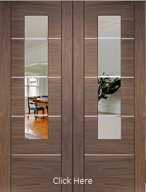Walnut Portici Rebated Pair with Clear Etched Glass - Pre Finished - X