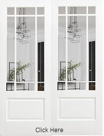 White Primed Downham Rebated Pair with Clear Bevelled Edge Glass - LP