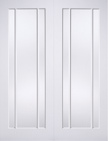 White Primed Lincoln Glazed Pair - Clear Glass - LP