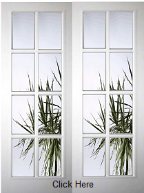 White Primed 8 Light Pair with  Clear Bevelled Edge Glass - Rebated Pairs - Woodgrain - DF