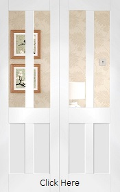 White Primed Malton Shaker Rebated Door Pair with Clear Glass - XL