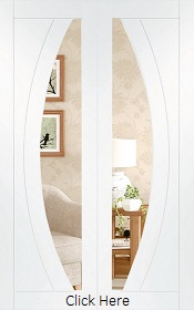 White Primed Salerno Rebated Door Pair with Clear Glass - XL