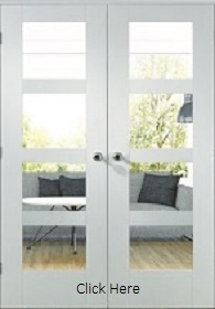 White Primed Shaker Door Pair with Clear Glass - XL