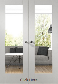 White Primed Pattern 10 Clear Glass Door Pair - Rebated - X