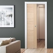 Single Oak Sliding Pocket Door Kit - LPD
