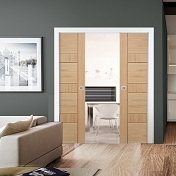 Double Oak Pocket Sliding Door Kit - Sui...