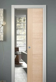 oak pocket door system
