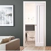 Single White Sliding Pocket Door Kits  -...