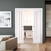 Double White Sliding Pocket Door Kit - L...