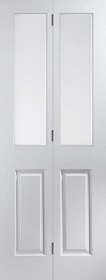 White Primed Bi-fold with Obscure Glass - Woodgrain - JW