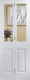 White Primed Atherton Bi-fold with Clear...