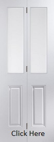 White Primed Bi-fold - Etch Glazed - Woodgrain - JW