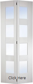 White Primed Shaker Bifold with Clear Glass Panels - LP