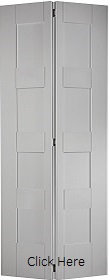 White Primed Shaker 4 Panel Bi-Fold - So...