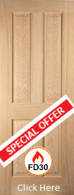Oak Oregon 4 Panel Firedoor - FD30 - 44mm - Unfinished - JW