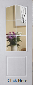 White Primed Camden / Classic 6 Light Etched Clear Glass - Woodgrain - JW