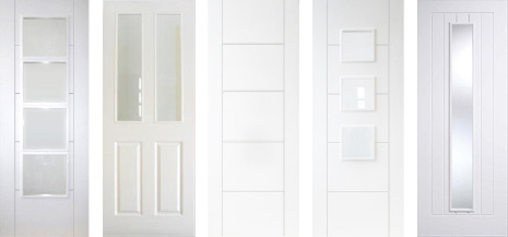 White Primed Contemporary Doors with Woodgrain Finish