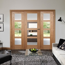 Oak Easi-Frame with Shaker Side Panels - Clear Glass - X