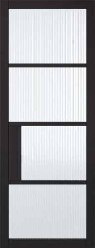 Chelsea 4L Black Reeded Glass Door