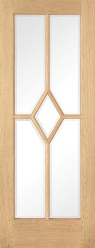 Reims 5P Oak Clear Bevelled Glass Pre-Finished Door - LPD