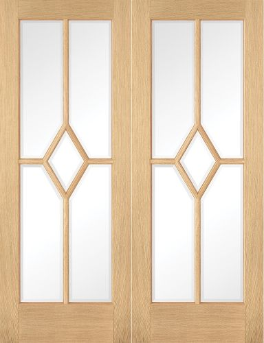 Reims Oak Clear Bevelled Glass Pre-Finished Pair