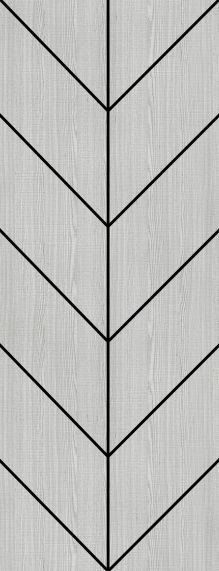 Light Grey Ash with Chevron Inlays - Prefinished - Solid Core - DE