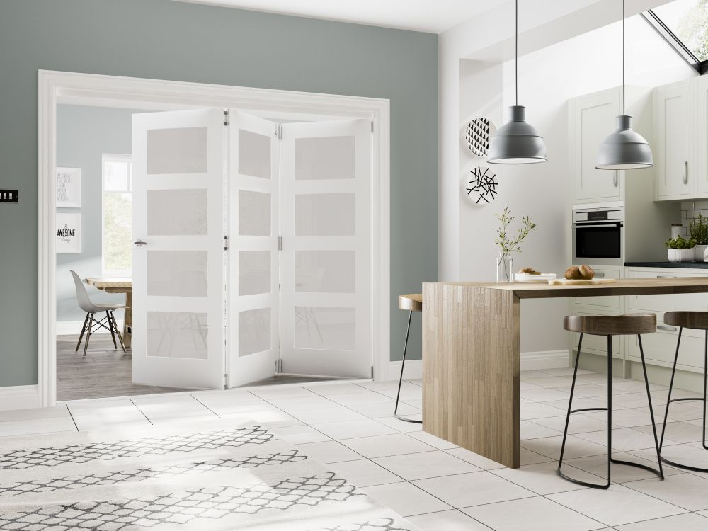 White Folding Door System - Includes White Primed Coventry Obscure Glazed Doors - DE