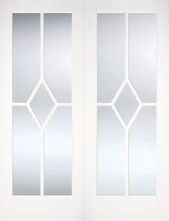 White Primed Reims Glazed Pair - Rebated - Solid Core  - LPD