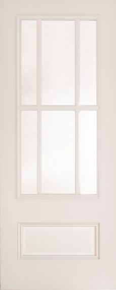 White Primed Canterbury with Clear Bevelled Glass - Solid Core - DE