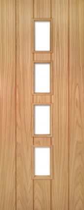 Oak Galway with Clear Glass - FD30 - 44mm - Unfinished - DE