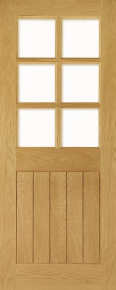 Oak Ely 6L with Clear Bevelled Glass Panels - Unfinished - DE
