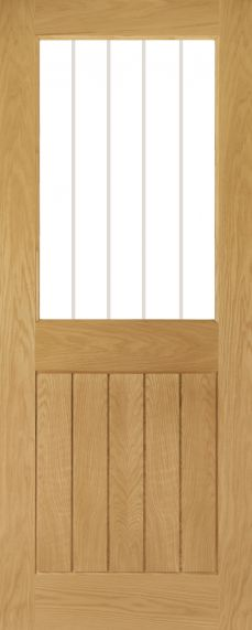Oak Ely 1L - Clear Glass with Etched Lines - Unfinished - DE