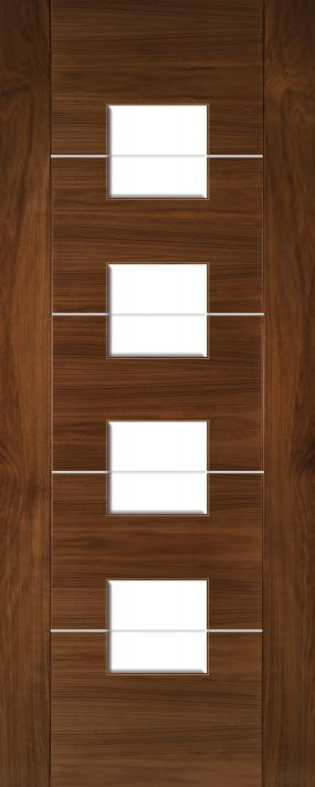 Walnut Valencia with Clear Glass - Aluminium Inlays - Prefinished - DE